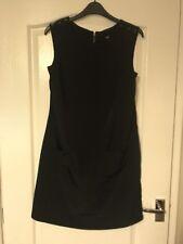 Wallis Sz 10 Black Tunic Dress Button Detail To Shoulders Excellent Condition
