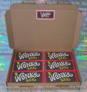 x6 50gr Willy Wonka Chocolate Bars Box with Golden Tickets inside