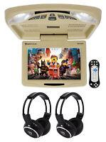 "Rockville RVD12HD-BG 12"" Beige Flip Down Car Monitor DVD/USB Player+Headphones"