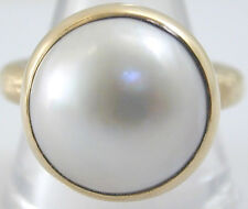 PERLE MABE grande or 9 ct et perle Statement Bague Taille Q 1/2 London 2012 Roman