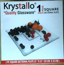 "krystallo serving plate glass square sectional 13"" x 13"""