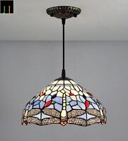 JT Tiffany Blue Dragonfly Stained Glass Pendant Light Home Leadlight Home Decor