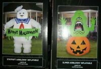 GHIOSTBUSTERS SLIMER & STAY PUFT  HALLOWEEN INFLATABLES NEW! 4.5 & 5 FT LED!