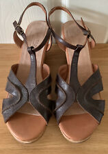 FATFACE brown leather wedge/ platform sandals size 7/41.