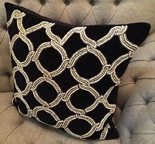 "KIM SEYBERT Black Velvet GLASS BEADED Duck Feather Decorative Pillow 22"" LUXURY!"