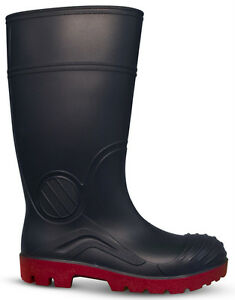 Traxium Black Mens All Purpose Non-Safety Gumboots - Brand New