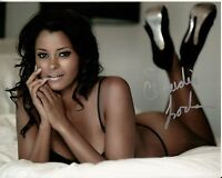CLAUDIA JORDAN hand-signed SEXY SEDUCTIVE IN BED 8x10 w/ uacc rd coa IN-PERSON