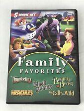 Family Favorites 5 Movie DVD Thumbelina Hercules Black Beauty Beast Call Wild