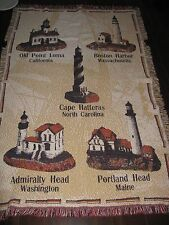 Goodwin Weavers Lighthouse Throw 100% Cotton Portland Head Cape Hatteras