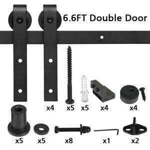Aluminum Sliding Barn Door Track Kit Roller Heavy Duty Wood Door Closet Hardware