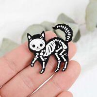 Skeleton Black Cat Badge Brooch Pin Sugar Skull Style Punk Cat Enamel Glitter h