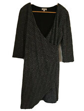 Regatta Size 12 Black and Grey stretch wrap dress. Long sleeve, Assymmetrical He