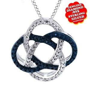 14K White Gold On Black & White Diamond Accent Pendant Chain