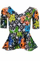Ladies Short Sleeve V Neck Swirl Floral Print Women's Textured Peplum Frill Top