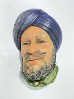 Vintage Bossons Head Chalkware Wall Hanging Sikh #43 Blue Turban Beard
