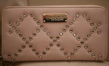 NEW WT WOMEN'S BEBE BLUSH PINK LEATHER WALLET JOAN RHINESTONE ZIP AROUND CLUTCH