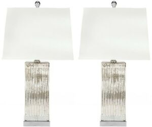 Table Lamp 27 in. Crystal Glass Base Rotary Switch with White Shade (Set of 2)
