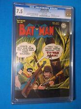 BATMAN # 30 - CGC VF- 7.5 - 1945 WHITE pgs - 1st APP ALLY BABBLE - WW ll COVER