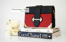 Box Trunk Bag in Red & Black With Gold Chain - Penelope Rose Boutique