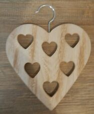 RUSTIC STYLE HEART SHAPED WOOD HANGER FOR SCARFS BELTS TIES