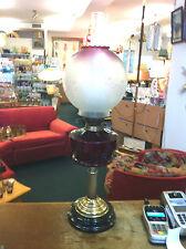 VTG Brass Marble & Red Etched Globe British Made 2 Duplex Burners Kerosene Lamp