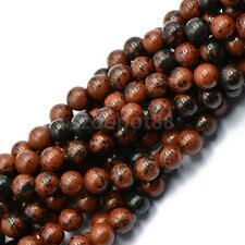 Gorgeous 8mm Mahogany Obsidian Gemstone Round Ball Loose Beads Strand 15""