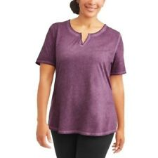 Terra Sky Notch Neck Tee Shirt Short Sleeve Purple Size 3x 24 26w Generous