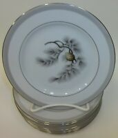 """8 Vintage Kent China Silver Pine 6.5"""" Bread and Butter Plates MIJ"""