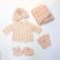 Infant vintage sweater set booties mittens Blanket Hat 5 pieces 3-6 Months