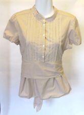 JCrew Cap Sleeve Blouse Pintuck Tan White Stripes 100% Cotton Size 6 Button Down