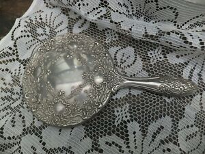 Antique Silver Plate Art Nouveau Hand Mirror Ornate Embossed Signed by Maker