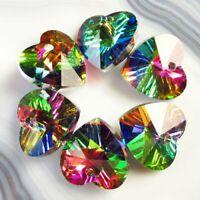6Pcs 14x14x7mm Faceted Multicolor Titanium Crystal Heart Pendant Bead