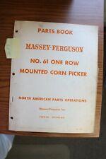 Massey Ferguson 61 One Row Mounted Corn Picker Parts Manual