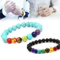 7 Chakra Healing Beaded Bracelets Natural Lava Turquois Stone Diffuser Bracelets