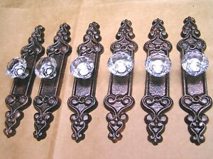 SIX Crystal style GLASS cabinet drawer pulls knobs handles with Cast Iron