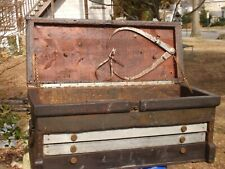 ANTIQUE TOOL BOX CHEST  AND TOOLS BOSTON HOBBER SHOE CO.