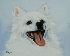 Original Oil painting - portrait - american eskimo dog  - j payne