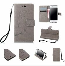 iPhone 5 / 5S / SE - GRAY BUTTERFLY VINE Leather Card Wallet Pouch Case Cover