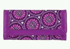 Disney Parks Vera Bradley Purple Plums Up Mickey Mouse Icons Tri-Fold Wallet