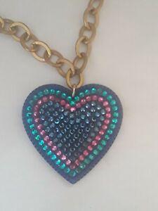 Tarina Tarantino BIG LOVE Lucite Rhinestone Heart Necklace Blue Pink Swarovski