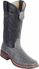 Los Altos GRAY Ostrich Square Toe TPU Rubber Sole Western Cowboy Boot EE+