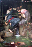 Huge Oil painting J. W. Waterhouse - Girls Nymphs Finding the Head of Orpheus