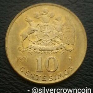 Chile 10 Centesimos 1971 S. KM#194. Dime. Ten Cents coin. Santiago mint. 1 Year.