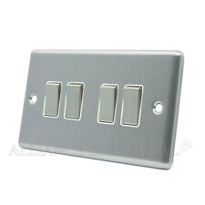Brushed Satin Chrome Classical 4 Gang Quad 2 Way Light Switch CSC4GSWIWS