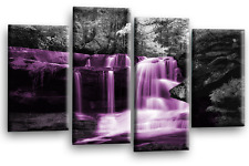 Large Waterfall Tree Wall Art Picture Forrest Grey Purple Split Panel Canvas