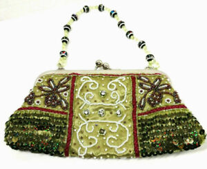 Beads Sequins Clutch Purse Drop Bead Handle Kiss Lock Closure Green Silvertone