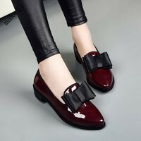 Womens Sweet Bowknot Patent Leather Shoes Slip On Low Heel Pumps England College