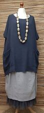 LAGENLOOK LINEN/COTTON OVERSIZED 2 POCKETS TUNIC/TOP***NAVY***SIZE XXL-XXXL