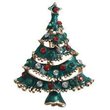 Christmas Jewelery Brooch, Enamel Diamond Christmas Tree Brooch Rhinestone U3W5