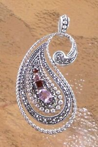 Raindrop Shaped Ruby and Light Amethyst Gemstone Pendant 925 Sterling Silver